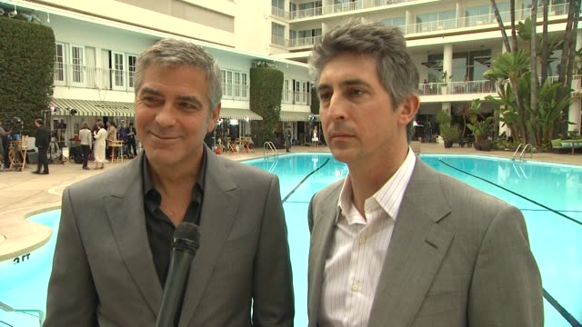 george clooney and alexander payne on the oscar luncheon and what they were told about oscar speeches about how awards season has gotten so much... - george clooney stock videos and b-roll footage