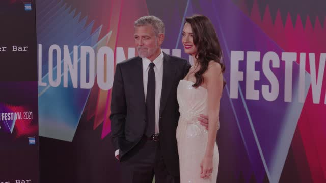 """george clooney and amal clooney attend """"the tender bar"""" uk premiere during the 65th bfi london film festival at the royal festival hall on october 7,... - premiere event stock videos & royalty-free footage"""