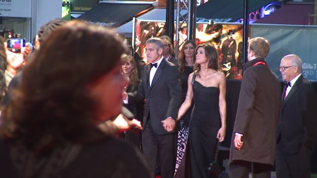 george clooney and elisabetta canalis at the fantastic mr fox opening gala london film festival at london england - 2009 stock videos & royalty-free footage