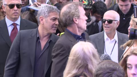 george clooney and hugh laurie at 'tomorrowland': a world beyond uk premiere - hugh laurie stock videos & royalty-free footage