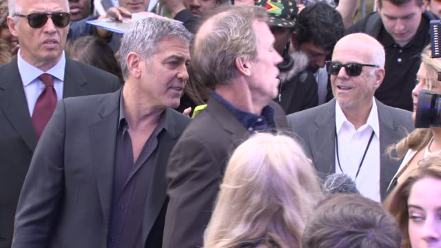 BROLL George Clooney and Hugh Laurie at 'Tomorrowland' A World Beyond UK Premiere