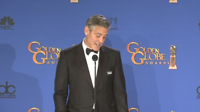 SPEECH George Clooney at 72nd Annual Golden Globe Awards Press Room at The Beverly Hilton Hotel on January 11 2015 in Beverly Hills California