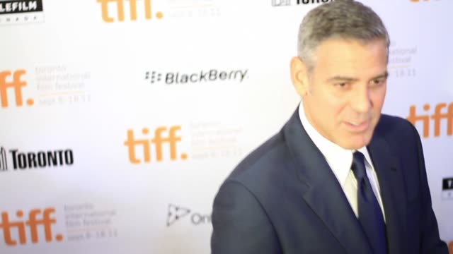 george clooney at the 'ides of march' premiere 2011 toronto international film festival - george clooney stock videos and b-roll footage