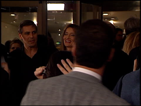 george clooney at the 'solaris' premiere at the cinerama dome at arclight cinemas in hollywood, california on november 19, 2002. - solaris 2002 film stock videos & royalty-free footage