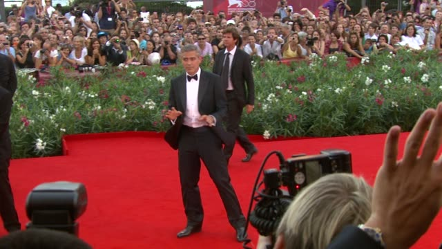 george clooney at the the ides of march premiere: venice film festival at venice . - george clooney stock videos & royalty-free footage