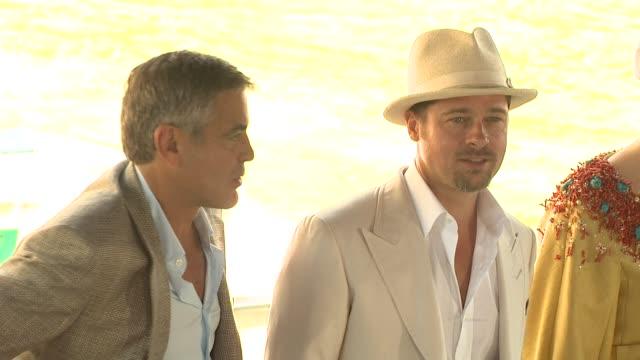 George Clooney Brad Pitt Tilda Swinton at the 65th Venice Film Festival Burn After Reading Press Arrivals at Venice