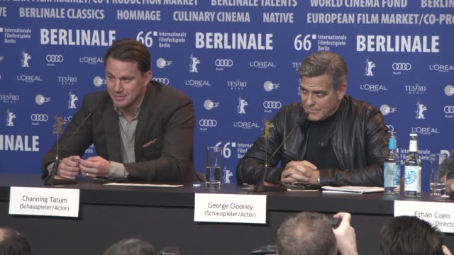 INTERVIEW George Clooney makes fun of a journalist Channing Tatum on being asked by the Coen brothers to be in the film Alden Ehrenreich on...