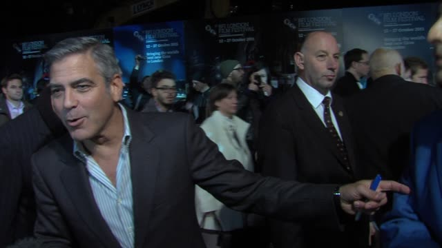 george clooney on being involved on the project, impressions of the screenplay at the the descendants gala premiere: 55th bfi london film festival at... - george clooney bildbanksvideor och videomaterial från bakom kulisserna