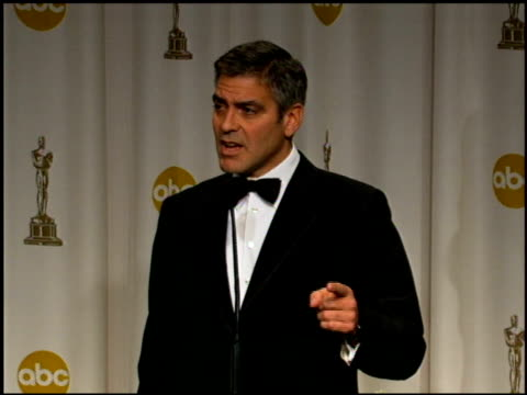 george clooney on being proud to be nominated with the other directors at the 2006 annual academy awards at the kodak theatre in hollywood california... - george clooney stock videos & royalty-free footage