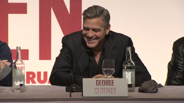 INTERVIEW George Clooney on choosing films and working on small budgets at 'The Monuments Men' Press Conference at National Gallery on in London UK