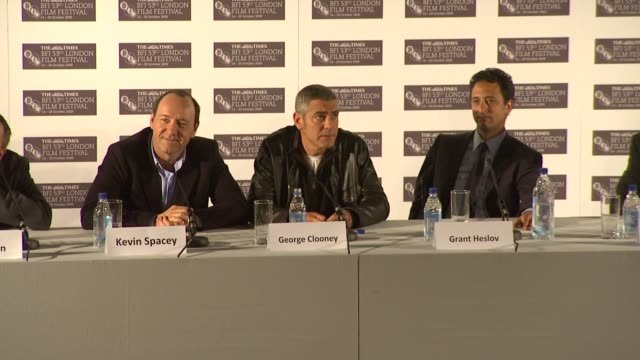 george clooney on comparisons between himself and italian prime minister silvio berlusconi at the the men who stare at goats press conference london... - george clooney stock videos and b-roll footage