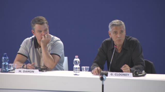 INTERVIEW George Clooney on looking at societies issues bringing that to the screen at 'Suburbicon' Press Conference 74th Venice International Film...