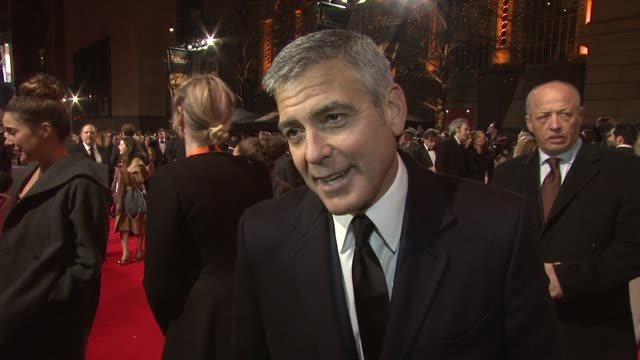 george clooney on rivalry with brad pitt on being nominated on his favourite film on screen writing on whitney houston at the royal opera house on... - whitney houston stock-videos und b-roll-filmmaterial