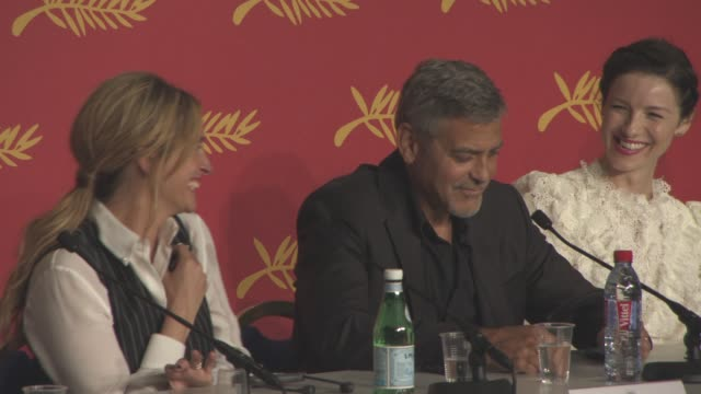 INTERVIEW George Clooney on shooting the dancing scenes within the movie and working with the choreographer at 'Money Monster' press conference at...