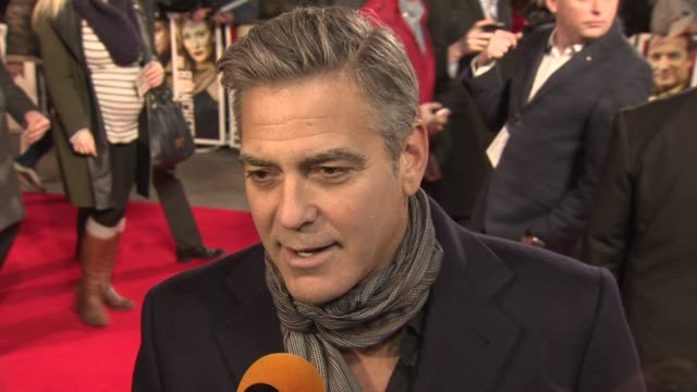 INTERVIEW George Clooney on the bravery of the people who sacrificed themselves to save art at 'The Monuments Men' UK Film Premiere at National...