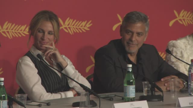 INTERVIEW George Clooney on the links between himself as an actor and his character 'Lee Gates' at 'Money Monster' press conference at Palais des...