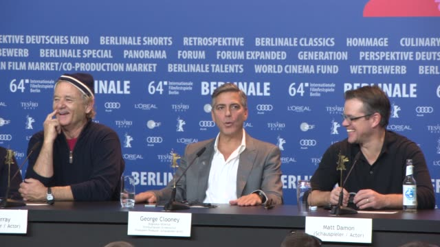 vídeos de stock, filmes e b-roll de george clooney on the reasons in making the film, the appeal of the story at 'the monument men' press conference at grand hyatt hotel on february 8,... - jean dujardin