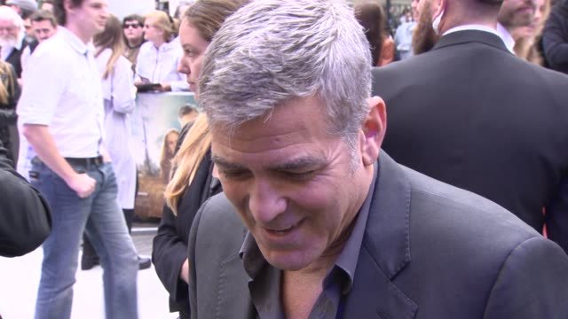 george clooney on working with brad brid, the themes of the film and future projects at 'tomorrowland': a world beyond uk premiere - george clooney stock videos & royalty-free footage
