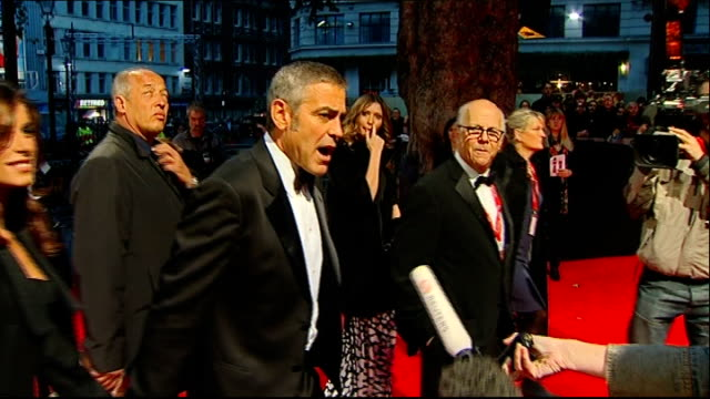 george clooney red carpet interview sot - fun playing mr fox - like to wear anything with fur on it sophie dahl arriving at premiere with fiance... - jamie cullum stock videos & royalty-free footage