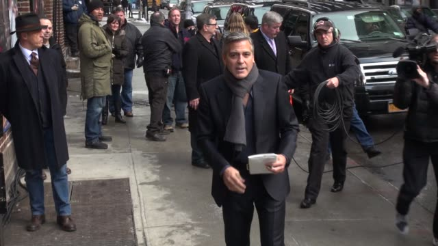 George Clooney walking into the Late Show with David Letterman in Celebrity Sightings in New York