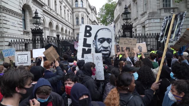 george floyd and anti racism banners are waved outside downing street in london on june 7 2020 in london united kingdom the death of an... - anti racism stock videos & royalty-free footage