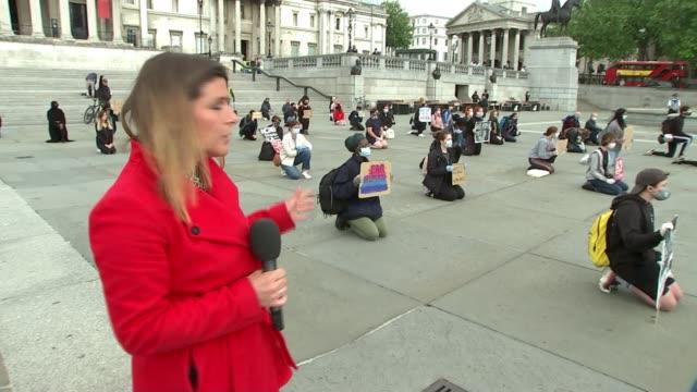 black lives matter demonstration in london; uk, london: black lives matter protesters 'take the knee' during demonstration in trafalgar square.... - vox populi stock videos & royalty-free footage