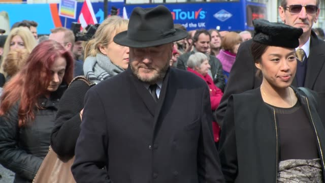 george galloway at tony benn - funeral at st margaret's church on march 27, 2014 in london, england. - トニー ベン点の映像素材/bロール