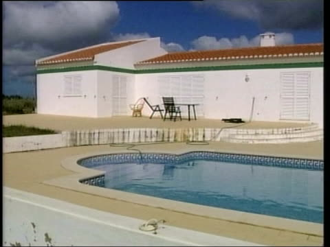'mariam appeal' campaign under investigation john ray news at ten portugal algarve gvs swimming pool of george galloway's home in portugal bv itv... - itv news at ten stock videos & royalty-free footage