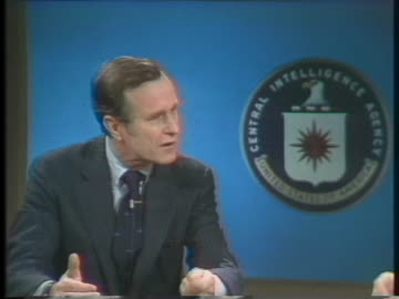 george h. w. bush, us central intelligence agency director, discusses the president's plan for a more active and streamlined role for the national... - united states and (politics or government) stock videos & royalty-free footage