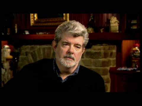 vídeos de stock, filmes e b-roll de george lucas interview sot all star wars films are action films based on action serials from 30s/ this has large helping of action even though its... - george lucas