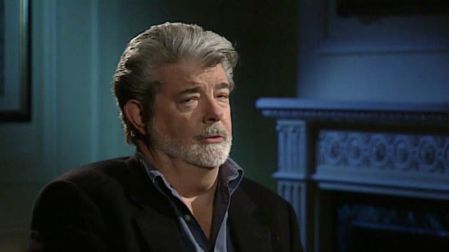 vídeos de stock, filmes e b-roll de george lucas on artists copying other artwork and creating 'something completely different' - george lucas