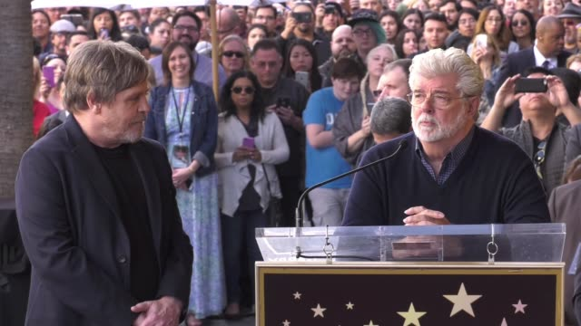 vídeos de stock, filmes e b-roll de speech george lucas on casting mark hamill and their long careers winding down at the mark hamill honored with a star on the hollywood walk of fame... - george lucas