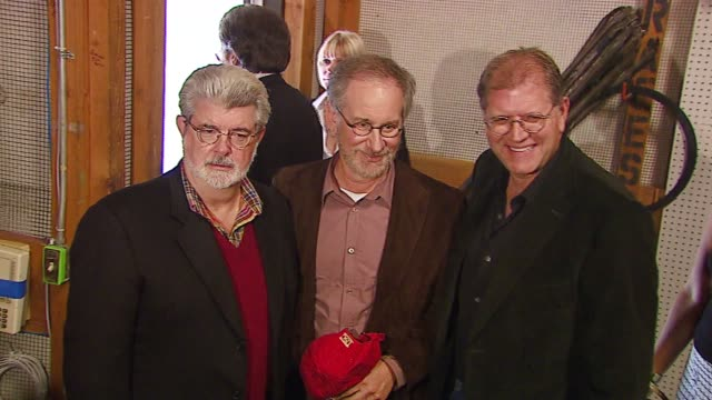 George Lucas Steven Spielberg and Robert Zemeckis at the Lucasfilm Foundation Groundbreaking Ceremony at USC School of Cinematic Arts in Los Angeles...