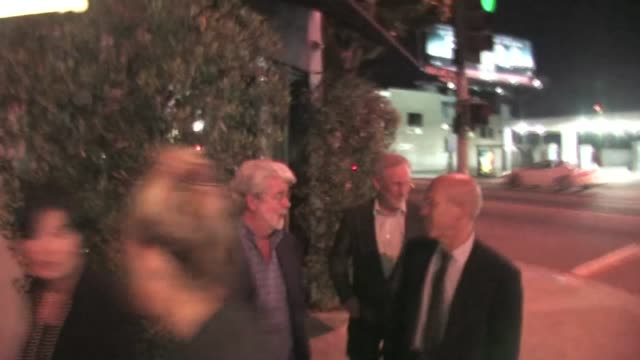 George Lucas Steven Spielberg Jeffery Katzenberg Kate Capshaw Osteria Mozza in Los Angeles