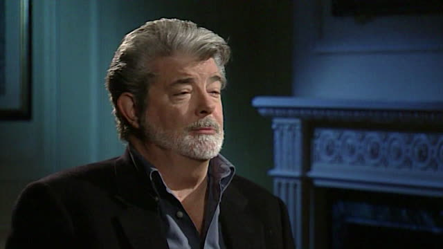 vídeos de stock, filmes e b-roll de george lucas talks about not needing to attend film school anymore because of director's dvd commentary - george lucas