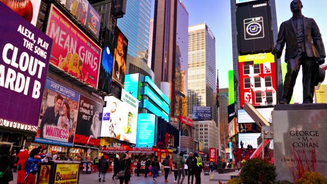 george m. cohan. times square - theatre district stock videos & royalty-free footage