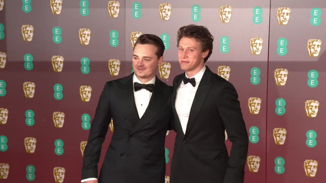 george mackay and dean-charles chapman, stars of 1917, at bafta film awards 2020 - 1917 stock videos & royalty-free footage