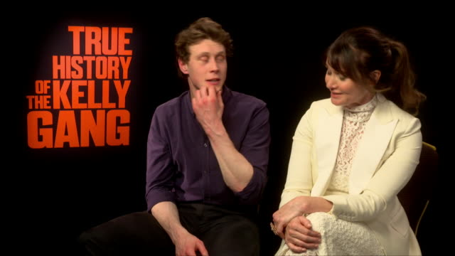 stockvideo's en b-roll-footage met interview george mackay on his kylie minogue inspired australian accent at 'true history of the kelly gang' interviews on february 17 2020 in london... - george mackay