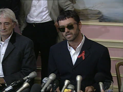 george michael loses battle with sony; )nao: england: london: embankment: howard hotel: cms george michael speaking at pfk sot. - i'm shocked and... - sony stock-videos und b-roll-filmmaterial