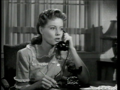 1947 montage george o'hanlon acting as joe mcdoakes talking to woman on phone , people walking by an apartment building / united states - warner bros stock videos & royalty-free footage