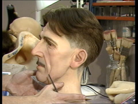 george orwell baker st ms wax head of orwell being made at madame tussauds - madame tussauds stock videos & royalty-free footage