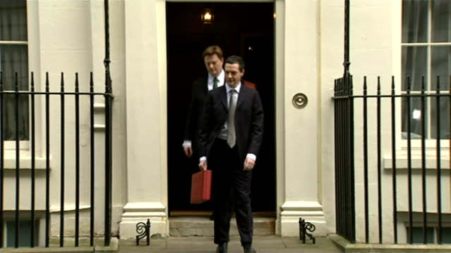 george osborne 2015 budget speech england london downing street ext george osborne mp from number 11 with members of treasury team including danny... - number 11 stock videos and b-roll footage