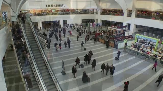 george osborne 2016 budget speech; england: ext speeded up sequence shoppers along on street birmingham: grand central shopping centre: int speeded... - grand central station manhattan stock videos & royalty-free footage
