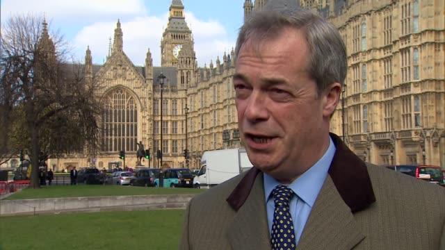 george osborne 2016 budget speech: reaction; england: london: westminster: ext nigel farage mep interview sot - reaction to budget / jamie oliver... - jamie oliver stock videos & royalty-free footage