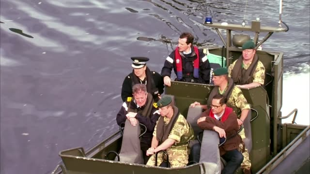 george osborne announces 500 million pounds of contracts for royal navy's submarine base at faslane; scotland: faslane naval base: ext various of... - royal marines stock videos & royalty-free footage