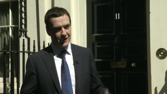 george osborne announces second budget for 2015 england london downing street no11 ext george osborne mp interview sot on the 8th july we will set... - itv weekend lunchtime news点の映像素材/bロール