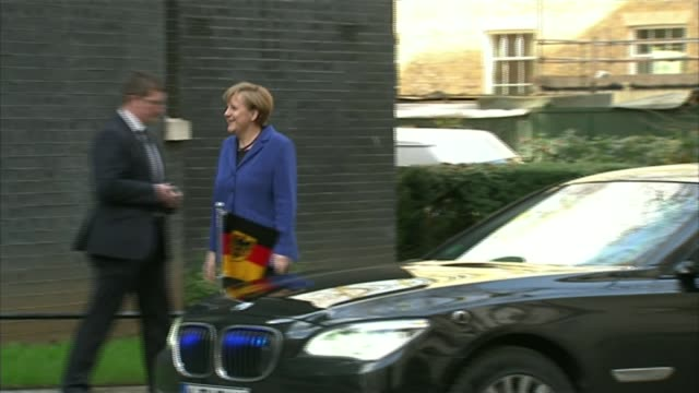 George Osborne asks for patience from business leaders during EU renegotiation LIB / Downing Street EXT Angela Merkel getting out of car and along...