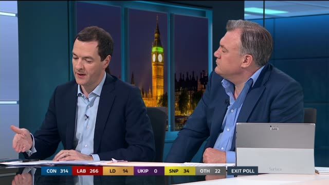 george osborne calls exit poll completely catastrophic for the conservative party and theresa may sot - george osborne stock videos and b-roll footage