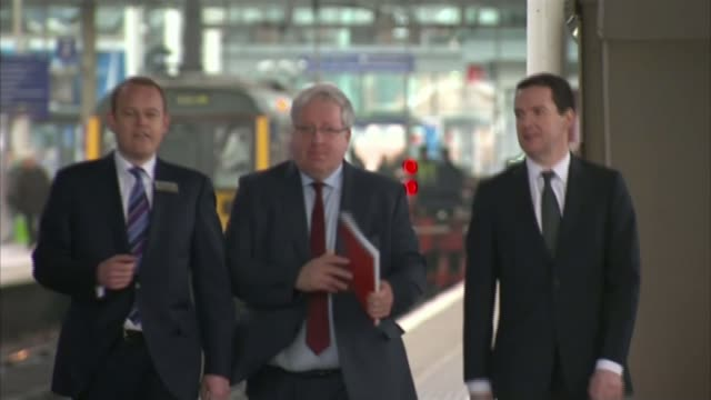 george osborne calls for hs3 rail link for northern england lib / 2032015 piccadilly train station george osborne mp and patrick mcloughlin mp along... - patrick mcloughlin stock videos and b-roll footage