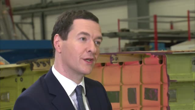 george osborne interview at airbus england bristol filton airbus factory int george osborne mp interview sot on gdp figures / supporting oil and gas... - george osborne stock videos & royalty-free footage
